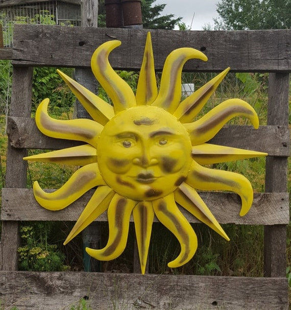 Metal Sun Wall Art Yellow and Antique by