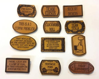 Steampunk leather pins