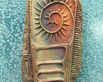 Artisan Focal #6...Free form bronze pendant charm
