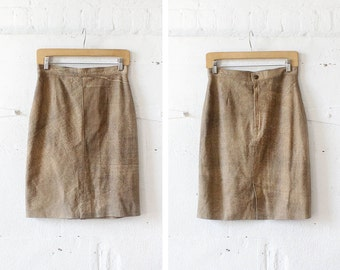 Marbled Leather Skirt S/M • Brown Leather Pencil Skirt • High Waisted Midi Skirt • Festival Boho Skirt | SK490