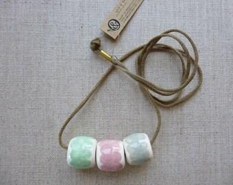 Handpainted Ribbon Ceramic Bead Necklace SALE