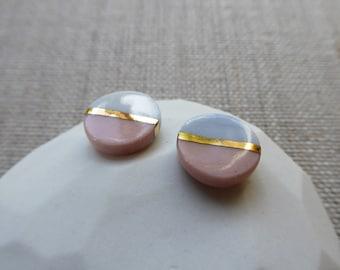 Asashi Horizon 2 Tone Gold Lined Stud Earrings