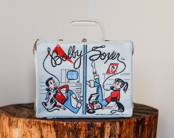 VERY RARE 1959 Bobby Soxer Vinyl Lunch Box by Aladdin Industries