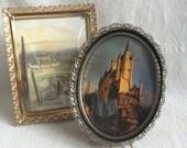 Vintage metal frames  fillagree frames  convex glass frames  oval convex frame