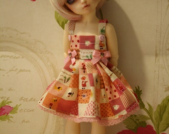 Littlefee -YOSD similar sized dolls dress in pink Gingham patchwork