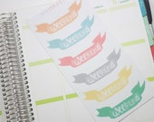 6 Watercolour Weekend Banners in bright shades Erin Condren Life Planner Stickers