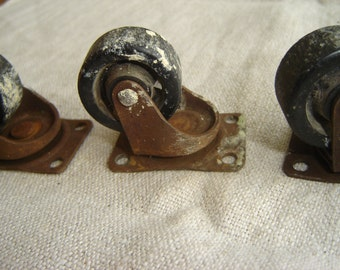Set of 3 Antique Casters Rusted Metal Desk Table Wheels Rollers