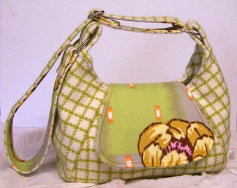 LIME GREEN CHECK, Cream Handbag, Hobo bag, medium size, Vintage Wool Fabric