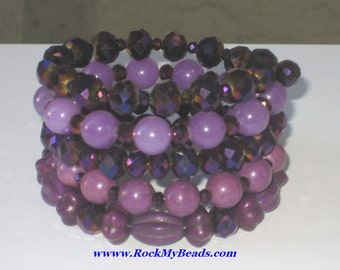 Purple Continuous Wrap Around Bracelet,Purple Bracelet,Purple Wrap Bracelet,Bracelet,Purple Multi-Strand Bracelet,Crystal Bracelet,Wrap