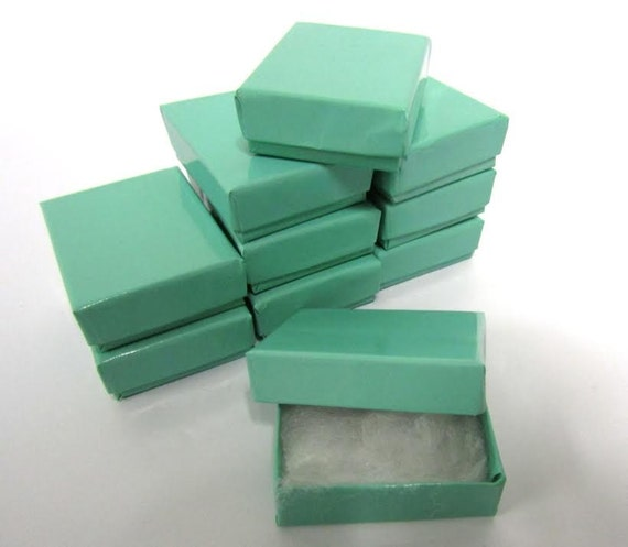 Teal Blue Boxes - 20-count (2 x 1.5 x .75 in.) Cotton Filled Jewelry Boxes