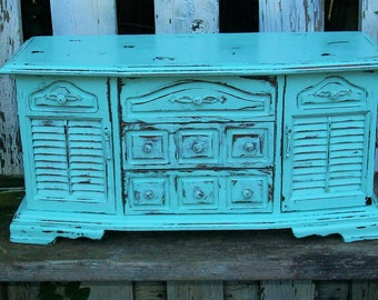 Vintage Robins Egg Blue Shabby Chic Jewelry Box with a Distressed Faux Finish Beach Decor