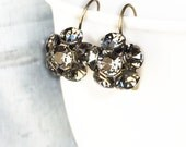 Rhinestone Cluster Earrings - Gray Rhinestone Earrings - Black Diamond Drop Earrings - Bridal Earrings - Wedding Jewelry - Wedding Earrings
