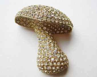 Vintage Gold Rhinestone Jeweled Novelty Mushroom Toadstool Brooch Pin