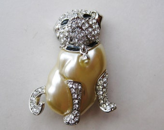 Vintage KJL Kenneth Jay Lane Silver Rhinestone Pearl Pug Dog Duchess of Windsor Jeweled Brooch Pin