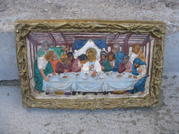 Chalkware Last Supper Wall Hanging Plaster Last Supper 1970s