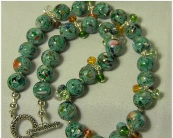 On Sale Mother of Pearl Teal Necklace with Crystals