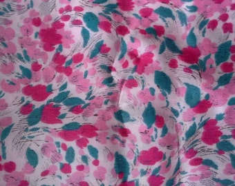 Pink and Green Floral Fabric 3 Yards X0396