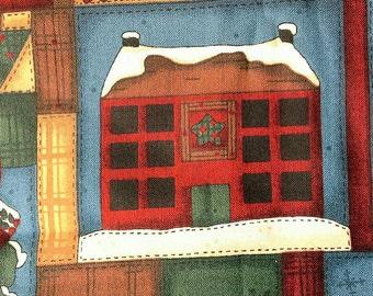 Christmas Block Print Novelty Cotton Fabric 1 3/4 Yards X0501 Santa Claus Snowman Angel