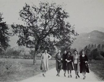 1940's French Photograph - Six Women Walking On a Country Road