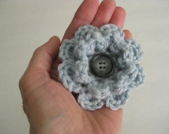 Crochet Flower Pin-Blue Flower Pin-Blue Flower Brooch-Crochet Flower-Crochet Flower with Button-Crocheted Pin-Crochet Brooch-Steel Blue Pin