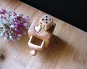 Reserved, Custom order, Miniature drawer with heart and wood dice