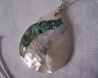 Shell Pendant Teardrop Shape Mother of Pearl and Abalone Mosaic Clearance