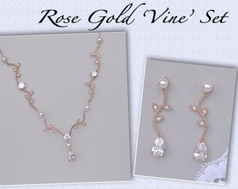 Rose Gold Jewelry Set, Vine bridal Set, Crystal Necklace and Earrings Set, Rose Gold Vine Wedding Jewelry, VINE PP