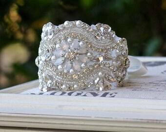 Opal Crystal Beaded Cuff, Crystal Bridal Cuff Bracelet, Milk Opal Cuff, Crystal Satin Bracelet, Wedding Headband, ZOÈ Opal