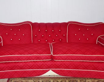 Vintage Mid Century Red & White Button Tufted Button 7 FT Fabulous Sofa Couch