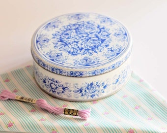Vintage Blue and White Tin