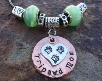 Tripawd Mom Sterling Silver and Copper Stamped Necklace Charm