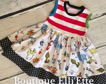 Girls Knit Tank Dress Cat in the Hat Grinch Horton Hears a Who Lorax Dr. Seuss Baby Toddler