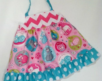 SALE Ready to Ship Baby Girl Knot Dress 12M Kitties