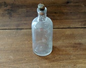 VINTAGE Clear Glass Bottle with Original Cork Stopper