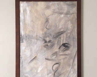 "Original Abstract Lusterstone Art - ""Indiferencia"" with Bronze Metal Finish Wooden Frame"
