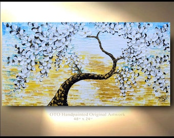 Xl Large Flowers Custom Abstract Gold Yellow Blue Painting Original 72X36 white Texture Artwork Modern Fine oil canvas acrylic by OTO