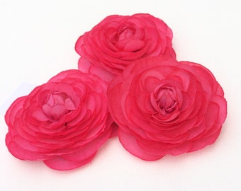 Silk Flowers - Three Small Silk Ranunculus Flowers in HOT Pink - Artificial Flowers