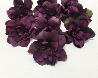 TWELVE Deep Eggplant Purple Delphinium Blossoms - 3 Inch Size - Artificial Flowers