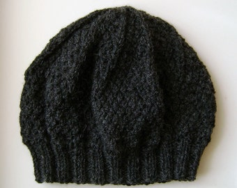 Ladies Aran Wool Hat in Charcoal Grey