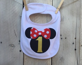 First Birthday Minnie Mouse Inspired Bib