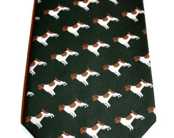 Men's Necktie, Dog Tie, Green Tie, Southern Tie, Jack Russell Tie,  Necktie, Groomsmen Gifts, Fathers Day Gift, Unique Tie, Organic Tie