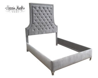 Tufted Bed Glam Modern Upholstered Tall Headboard King Queen Velvet Any Fabric Any Size Nail Head Trim Baker Inspired MADE TO ORDER