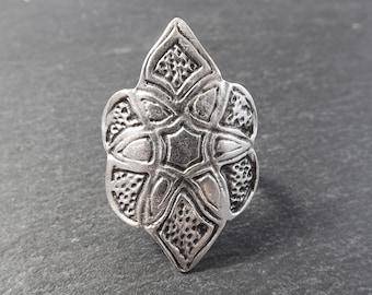 Ethnic Marquise Adjustable Silver Ethnic Tribal Boho Statement Ring