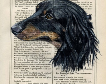 Custom Portrait of your Pet - Painted on Antique Book Page - sizes: from 4x7 to 7x10inches