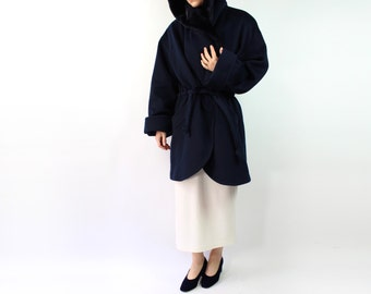 VINTAGE Plush Coat Dark Blue Hood Drawstring