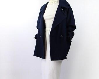 VINTAGE Navy Blue Coat Wool Short