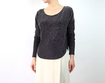 VINTAGE Black and Silver Top Pocket Shirt