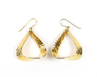 VINTAGE Hammered Metal Earrings Gold Dangling Pierced