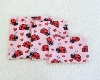 Ladybug Lunch Bags Set of 3 Reusable Sacs Different Size Bags for Sandwiches, Snacks and Even Toys School Day Care Idea