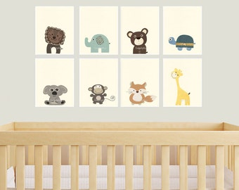 Baby Animal Nursery Art Prints Modern minimalist Nursery Decor set of prints Zoo animal Jungle animal Childrens art Nursery wall decor